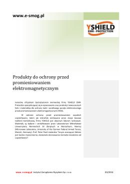 Info YSHIELD Polska - E-SMOG