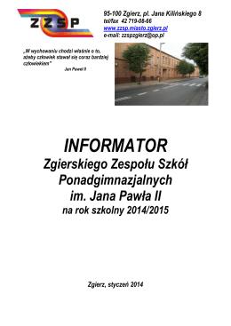 INFORMATOR - Zgierski Zespół Szkół Ponadgimnazjalnych