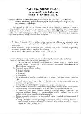 ZARZĄDZENIE NR VI/48/11 Burmistrza Miasta Lubartów z dnia 4