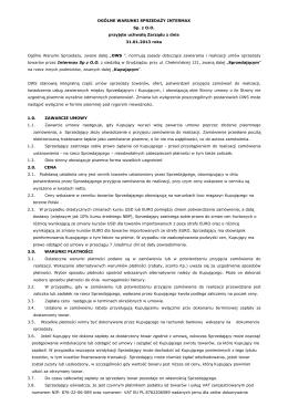 Ogólne warunki sprzedaży firmy INTERMAX