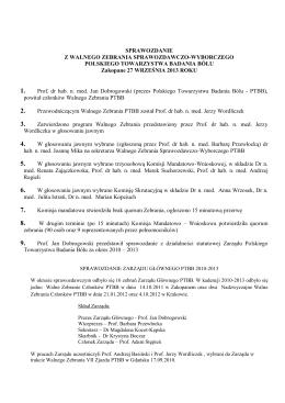 27 IX 2013 - Polskie Towarzystwo Badania Bólu