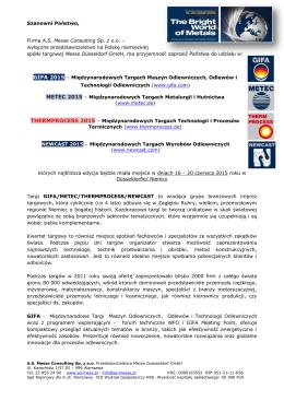 GIFA 2015 - informacje dlw wystawców