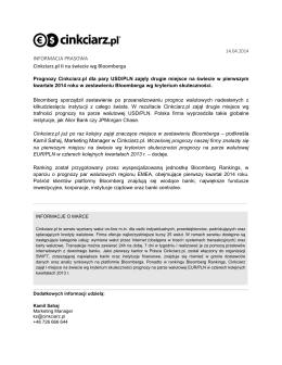 INFORMACJA PRASOWA Cinkciarz.pl II na świecie wg Bloomberga