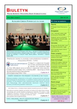 Pobierz biuletyn WEC - Polski Komitet Światowej Rady Energetycznej