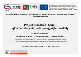 Projekt TransGeoTherm – główne założenia, cele i osiągnięte