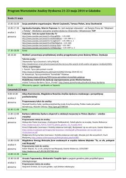 Program Warsztatów Analizy Dyskursu 21