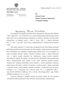 Pan Sławomir Nowak Minister Transportu, Budownictwa i