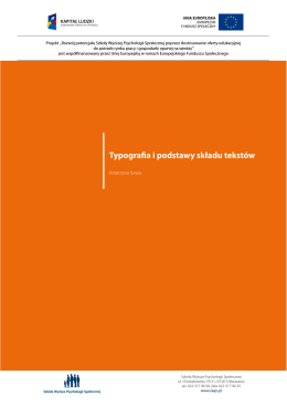 Typografia i podstawy składu tekstów