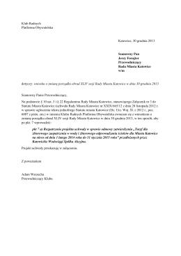 Projekt uchwały ws. taryf KW 2014