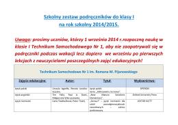 Szkolny zestaw podręczników do klasy I na rok szkolny 2014/2015.
