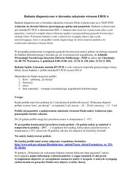 Badania diagnostyczne w kierunku zakażenia wirusem EBOLA