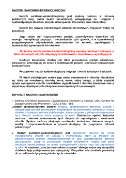 NADZÓR SANITARNO-EPIDEMIOLOGICZNY Nadzór sanitarno