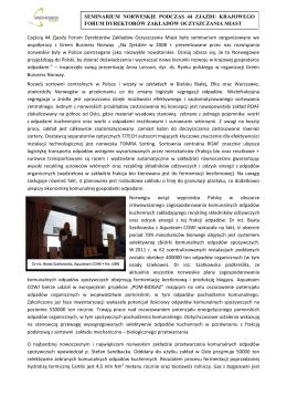 Częścią 44 Zjazdu Forum Dyrektorów Zakładów Oczyszczania Miast