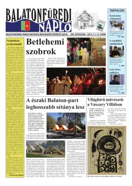 BALATONFÜREDI NAPLÓ XIII. évfolyam, 2013. 11–12