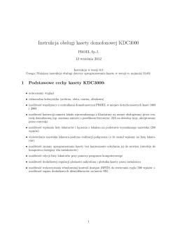 Instrukcja instalacji i programowania klawiatury KDC3000