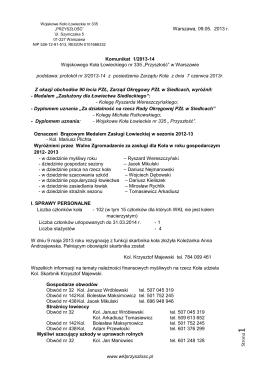 pobierz komunikat - Wojskowe Koło Łowieckie nr 335