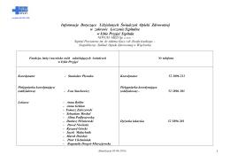 Informacje Dotyczące Udzielanych Świadczeń Opieki Zdrowotnej w