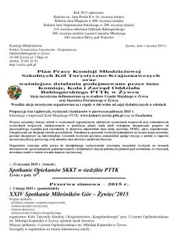 Komisji Młodzieżowej PTTK początek 2015