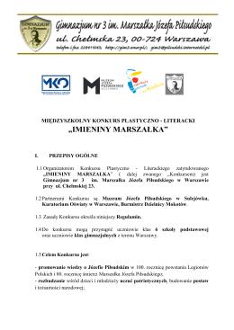 """Informacje o międzyszkolnym konkursie """"Imieniny Marszałka"""""""