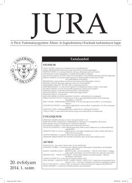 2014. évi 1. szám - JURA