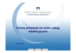 Formy promocji na rynku us³ug edukacyjnych