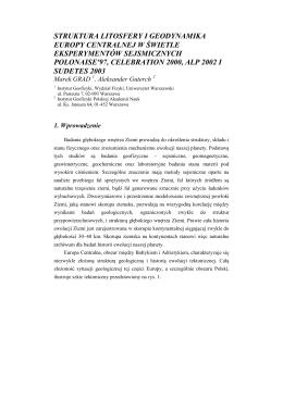 struktura litosfery i geodynamika europy centralnej w świetle