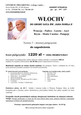 WŁOCHY DO GROBU OJCA ŚW. JANA PAWŁA II Wenecja – Padwa