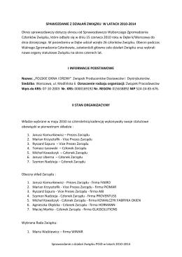 Sprawozdanie Zarządu za okres 2010 – 2014