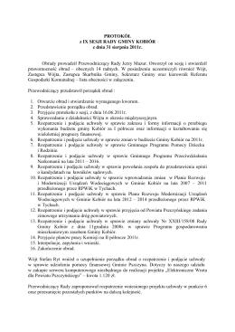 PROTOKÓŁ z IX SESJI RADY GMINY KOBIÓR z dnia 31 sierpnia