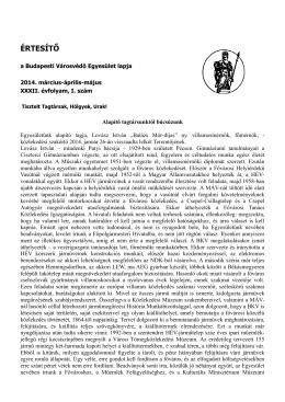 ÉRTESÍTŐ - Budapesti Városvédő Egyesület