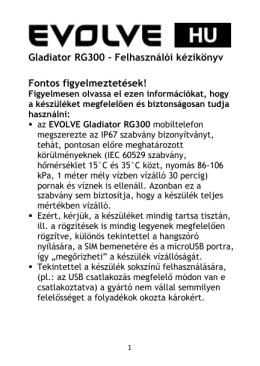 Gladiator RG300 – Felhasználói kézikönyv Fontos