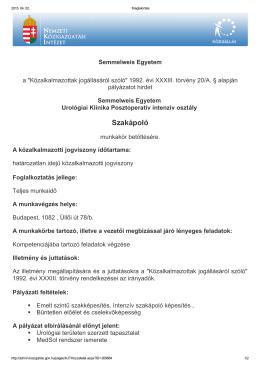 Szakápoló - Semmelweis Egyetem