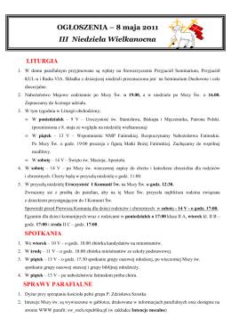 biuletyn parafialny - Parafia pod wezwaniem św. Maksymiliana