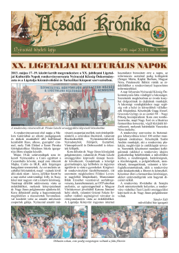 A XX. Ligetaljai Kulturális Napok támogatói