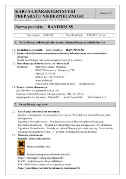 Karta charakterystyki niebezpiecznej substancji chemicznej