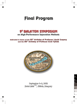 Final Program - 10th Balaton Symposium on High