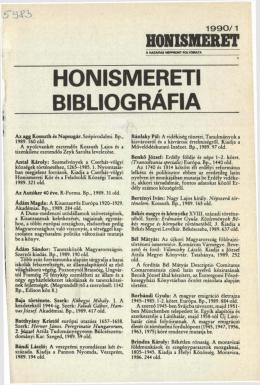 Honismereti Bibliográfia, 1990