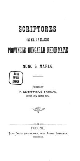 provincić hün&arić reformatć - Magyar Ferences Könyvtár és Levéltár
