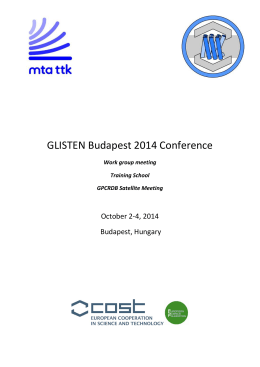 Book of Abstracts - GLISTEN Budapest 2014 Conference