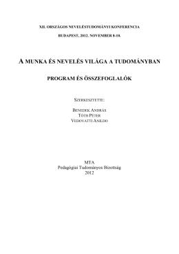 Absztrakt kötet letöltése - XII. Országos Neveléstudományi