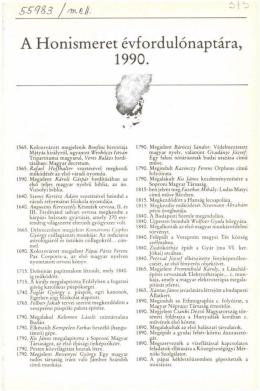 A Honismeret Évfordulónaptára, 1990