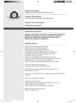 Magyar Reumatológia Hungarian Rheumatology