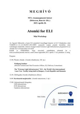 Atomki for ELI - MTA Atommagkutató Intézete