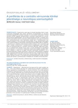 A perifériás és a centrális vérnyomás klinikai