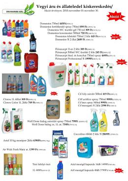 Vegyi áru és állateledel kiskereskedés/