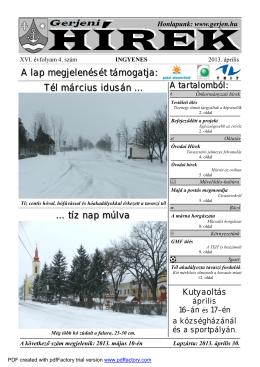 Tél március idusán … tíz nap múlva A lap megjelenését
