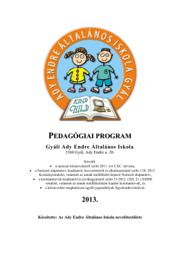 Pedagógiai program 2013 - Ady Endre Általános Iskola