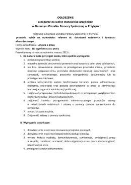 Ogłoszenie o naborze na wolne stanowisko urzędnicze.
