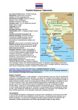 Thaiföld Általános Tájékoztató