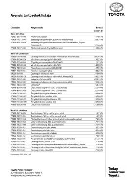 Avensis tartozékok listája